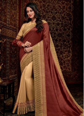 Beige and Rust Half N Half Trendy Saree