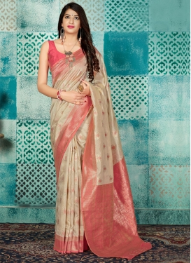 Beige and Salmon Banarasi Silk Trendy Classic Saree For Ceremonial