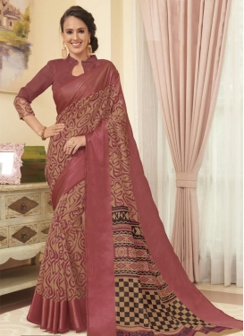 Beige and Salmon Cotton Satin Contemporary Style Saree