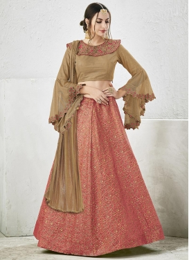 Beige and Salmon Embroidered Work A Line Lehenga Choli