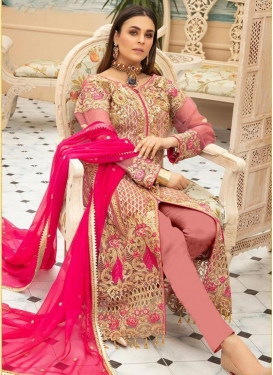 Beige and Salmon Embroidered Work Pant Style Pakistani Salwar Suit