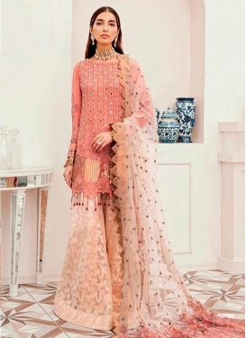 Beige and Salmon Palazzo Straight Salwar Kameez For Ceremonial