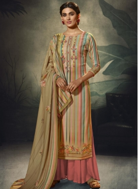 Beige and Salmon Palazzo Style Pakistani Salwar Kameez For Ceremonial