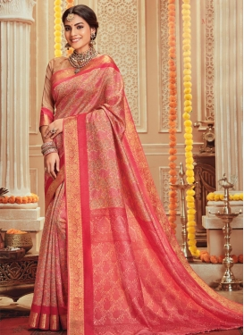 Beige and Salmon Traditional Designer Saree For Casual
