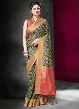 Beige and Sea Green Art Silk Designer Traditional Saree