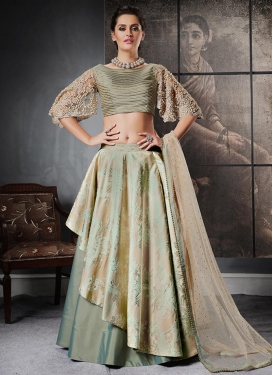Beige and Sea Green Embroidered Work Designer Lehenga Choli