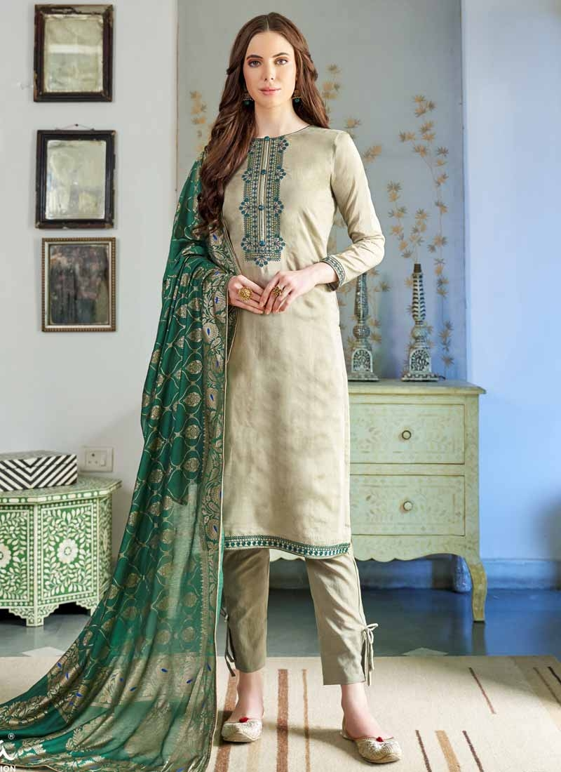 Beige and Sea Green Pant Style Classic Salwar Suit