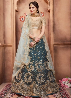 Beige and Teal Art Silk Trendy Lehenga
