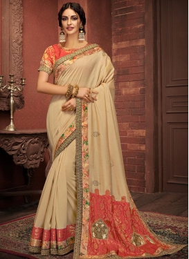 Beige and Tomato Designer Traditional Saree