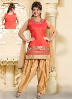 Beige and Tomato Embroidered Work Readymade Salwar Suit