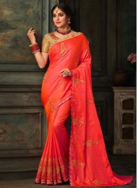 Beige and Tomato Poly Silk Trendy Classic Saree
