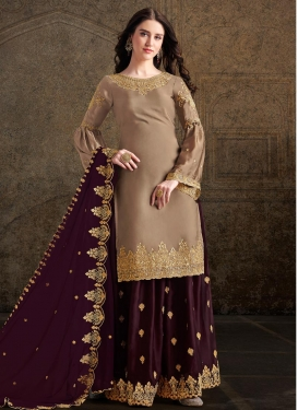 Beige and Wine Designer Palazzo Salwar Kameez For Festival
