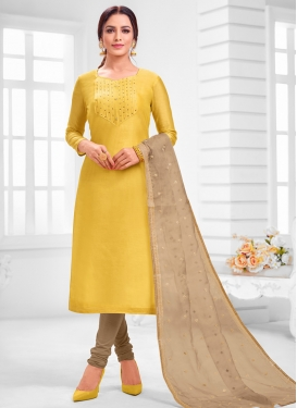 Beige and Yellow Cotton Silk Churidar Salwar Kameez