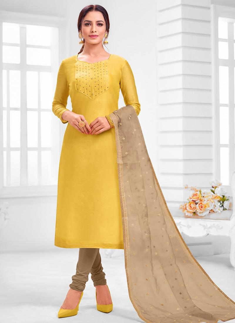 Beige and Yellow Cotton Silk Churidar Salwar Kameez