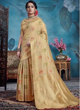 Beige Art Silk Casual Saree