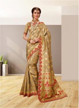Beige Color Designer Traditional Saree