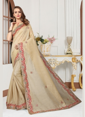 Beige Cotton Silk Embroidered Traditional Designer Saree