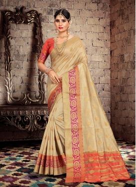 Beige Cotton Silk Weaving Traditional Saree