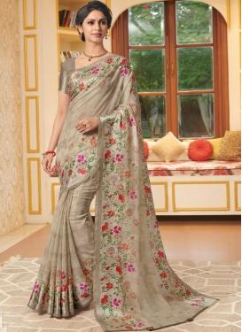 Beige Linen Printed Classic Designer Saree
