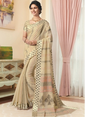 Beige Linen Printed Designer Traditional Saree