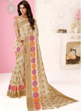 Beige Tussar Silk Weaving Designer Traditional Saree