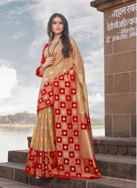 Beige Weaving Art Silk Traditional Saree