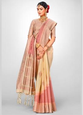Beige Wedding Jacquard Silk Designer Traditional Saree