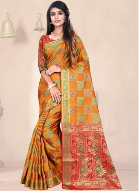 Best Weaving Art Silk Orange Traditional Saree