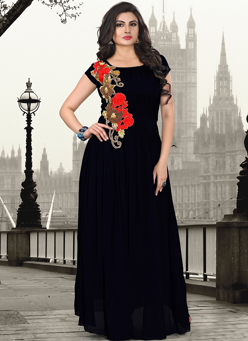Bewitching Black Color Party Wear Readymade Gown