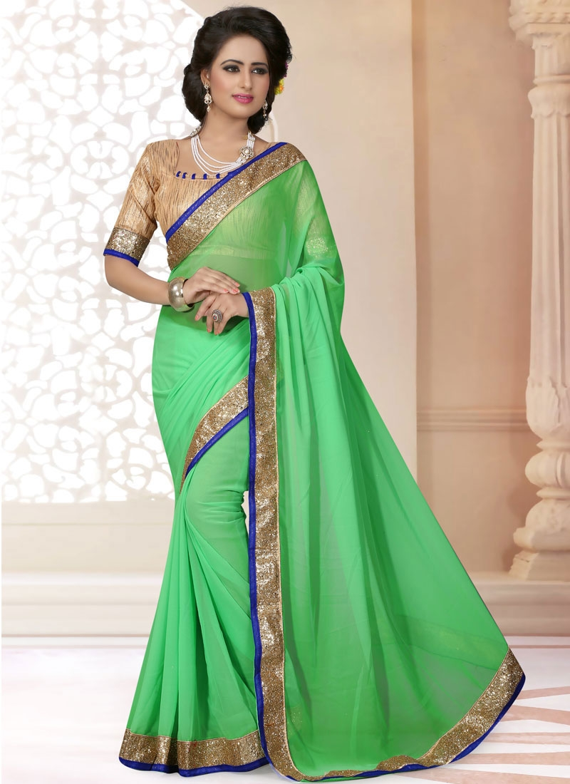 Bewitching Mint Green Color Faux Georgette Casual Saree