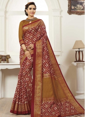 Bhagalpuri Silk Brown and Maroon Digital Print Work Traditional Saree