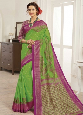 Bhagalpuri Silk Fuchsia and Green Digital Print Work Designer Contemporary Style Saree