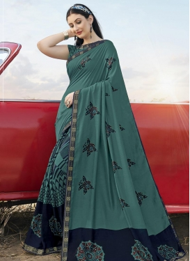 Bhagalpuri Silk Navy Blue and Teal Designer Contemporary Saree For Casual