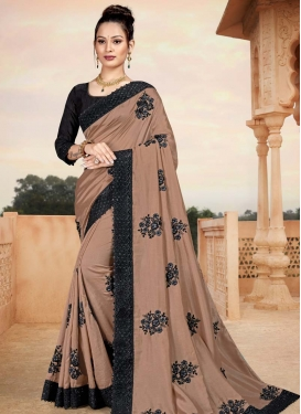 Black and Brown Art Silk Designer Contemporary Style Saree