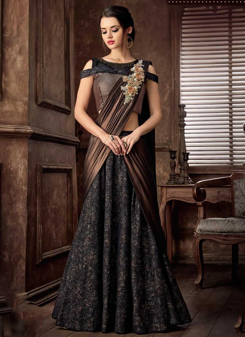 Black and Brown Beads Work Lehenga Style Saree