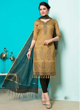 Black and Brown Embroidered Work Trendy Churidar Suit
