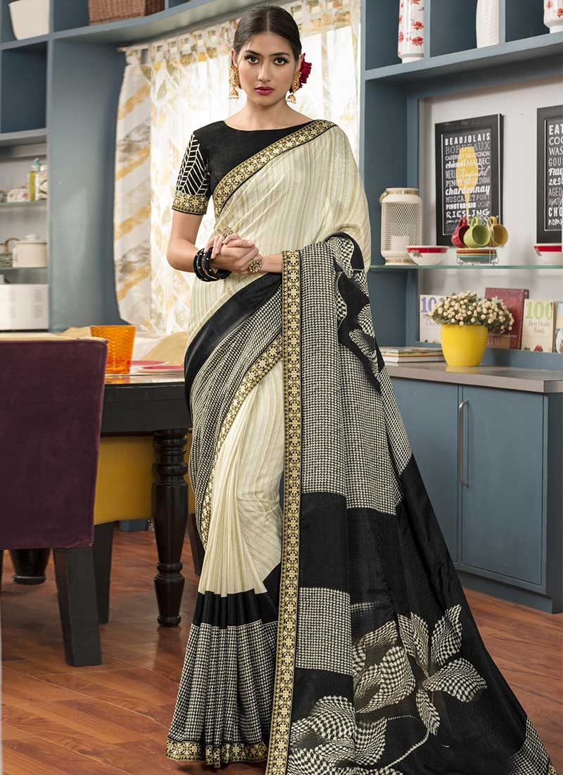 Black and Cream Contemporary Style Saree