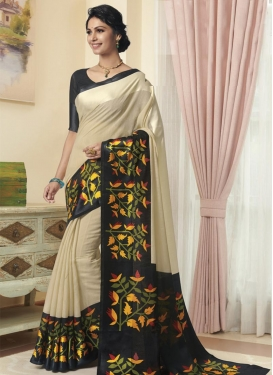 Black and Cream Cotton Satin Traditional Designer Saree