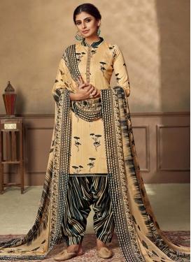 Black and Cream Designer Semi Patiala Salwar Suit