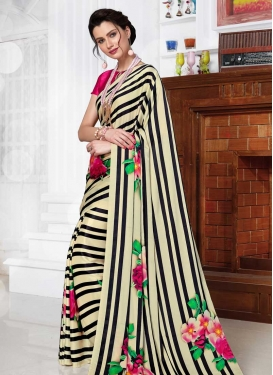 Black and Cream Digital Print Work Designer Traditional Saree