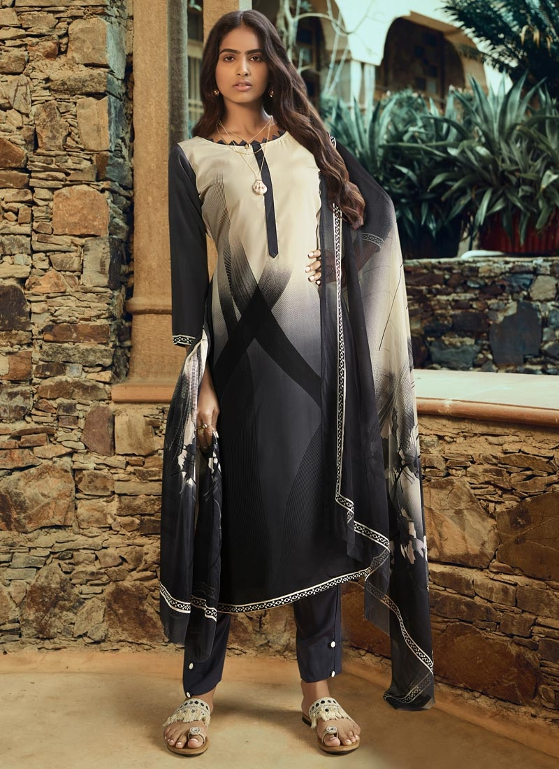 Black and Cream Digital Print Work Pant Style Pakistani Salwar Kameez