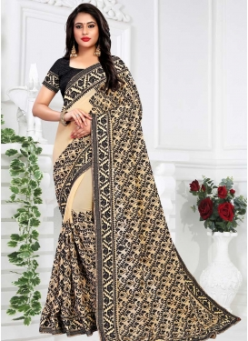 Black and Cream Faux Georgette Contemporary Saree