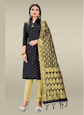 Black and Cream Woven Work Art Silk Trendy Churidar Salwar Suit