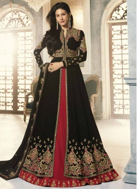 Black and Crimson Faux Georgette Designer Kameez Style Lehenga Choli
