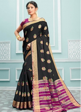 Black and Fuchsia Woven Work Designer Traditional Saree