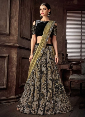 Black and Gold Lehenga Style Saree
