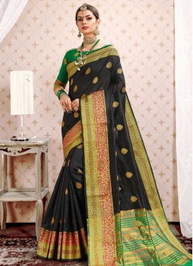 Black and Green Cotton Silk Traditional Designer Saree