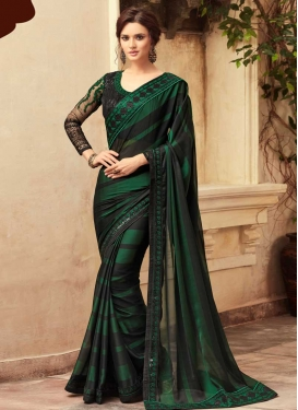 Black and Green Designer Contemporary Style Saree