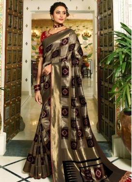Black and Grey Banarasi Silk Designer Traditional Saree