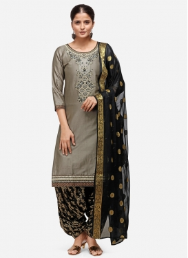 Black and Grey Cotton Semi Patiala Salwar Suit
